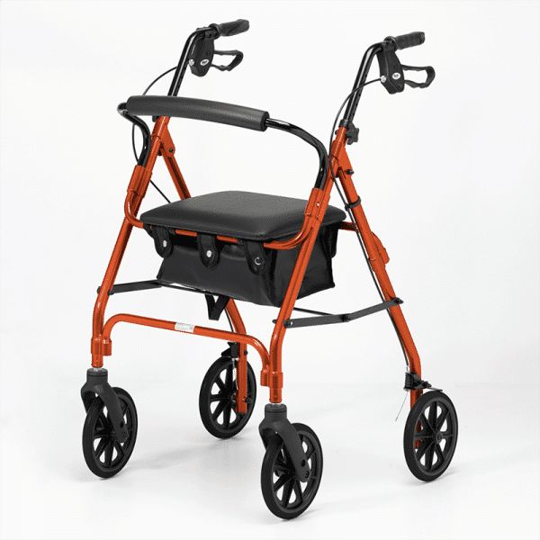 Four Wheeled Rollator - Orange
