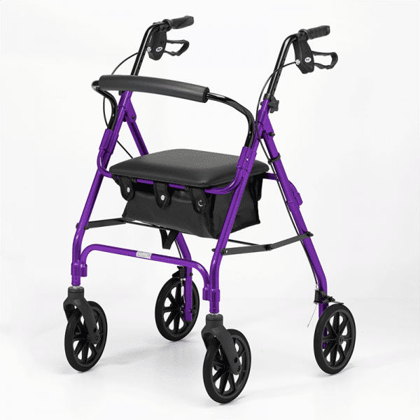 Four Wheeled Rollator - Purple