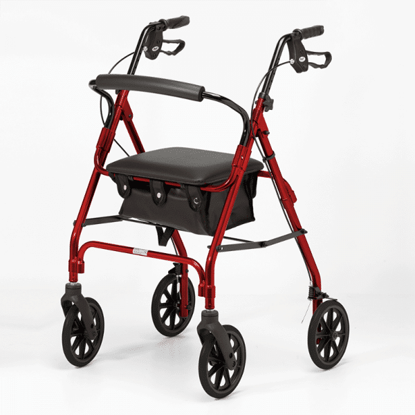 Four Wheeled Rollator - Red