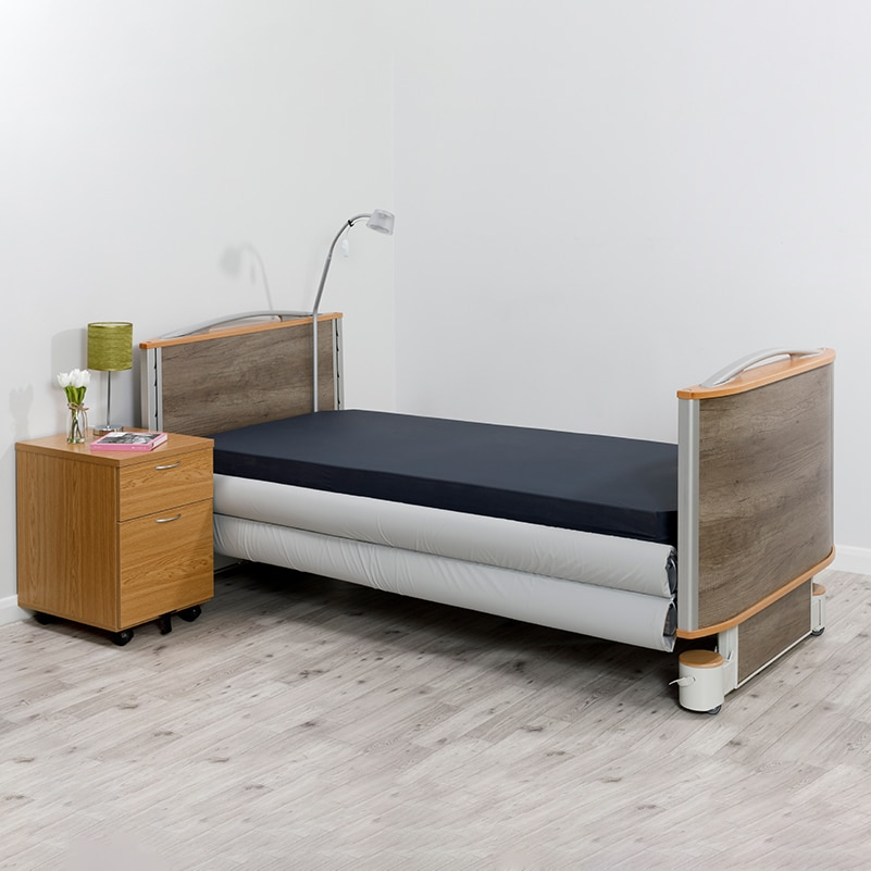 Solace Mesh Siderail Bed Bumpers - on the bed lowered