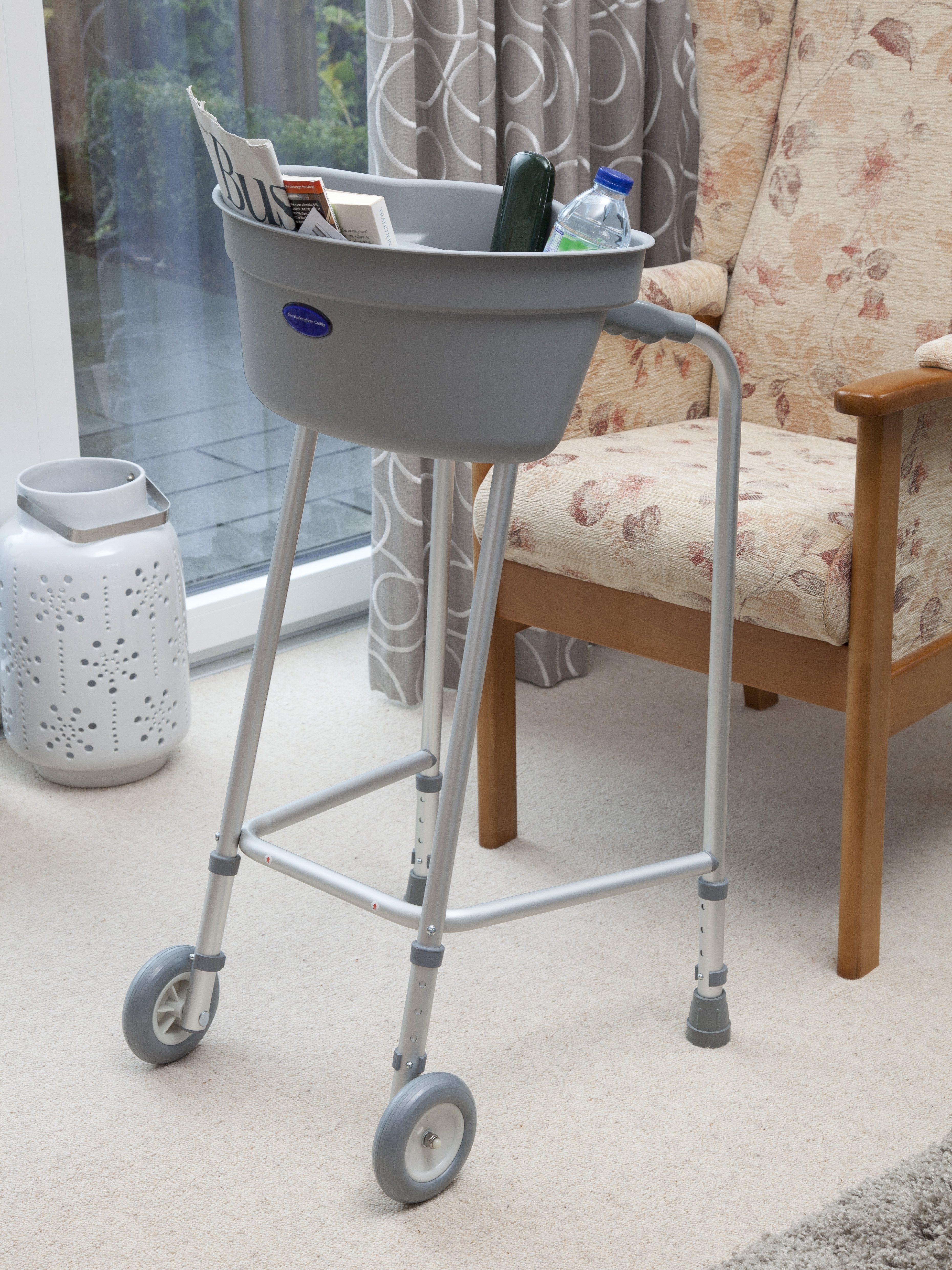 Buckingham Caddy - plastic tray fitted to the top of a walking frame